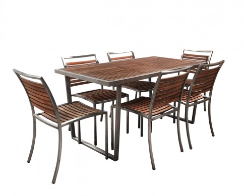 Rent or hire Hire generously proportioned 7 piece timber and stainless steel outdoor furniture setting